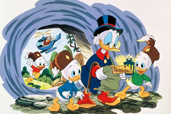 Uncle Scrooge and the nieces Huey, Dewey and Louis